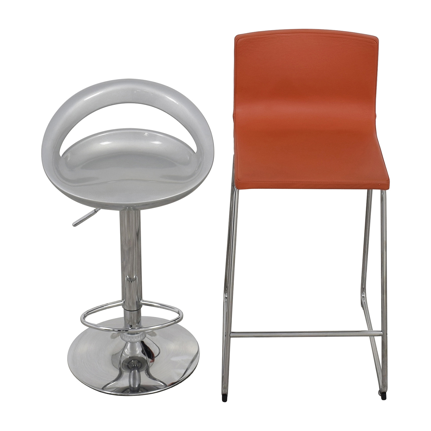 75 Off Pair Of Modern Orange And Silver Bar Stools Chairs