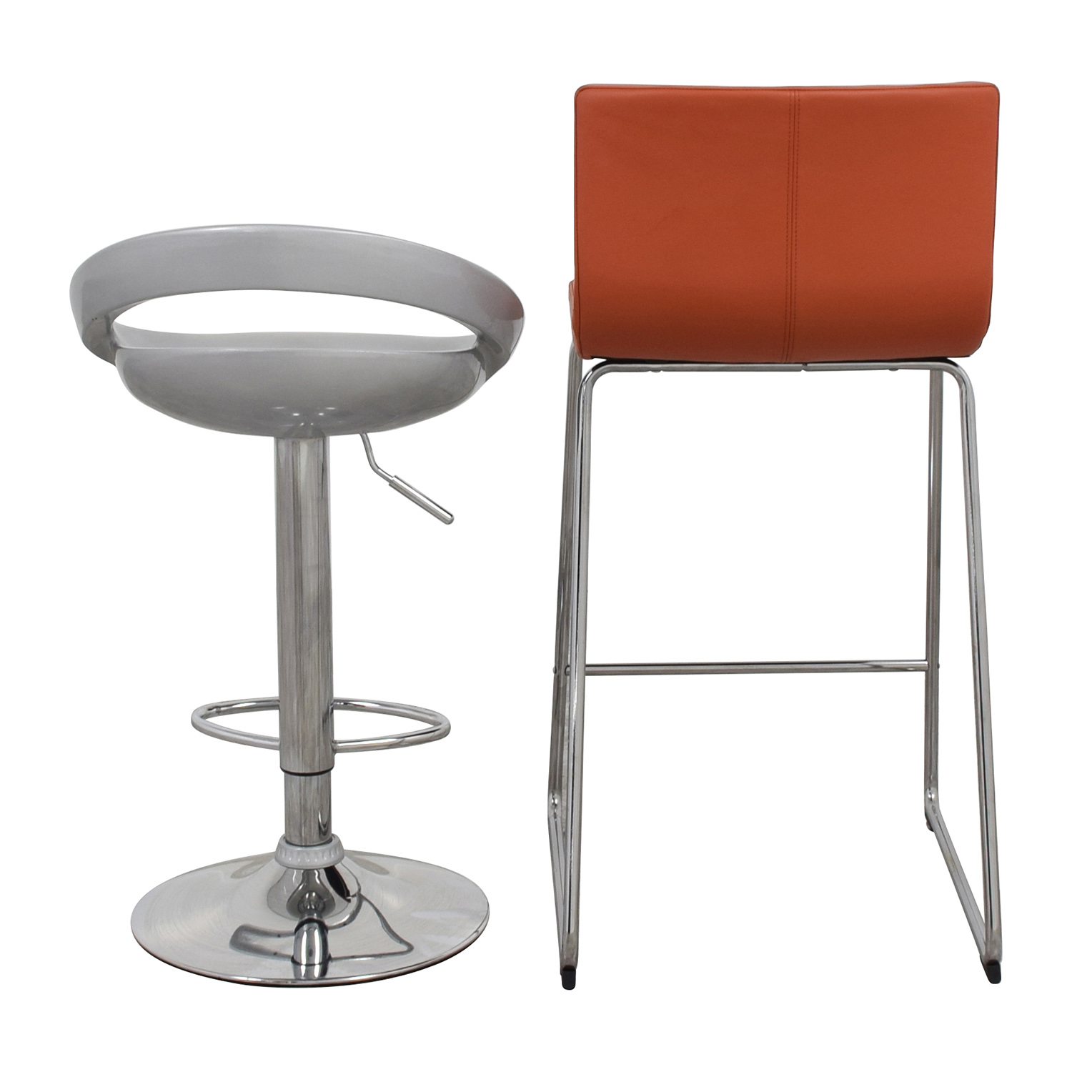 Pair of Modern Orange and Silver Bar Stools for sale