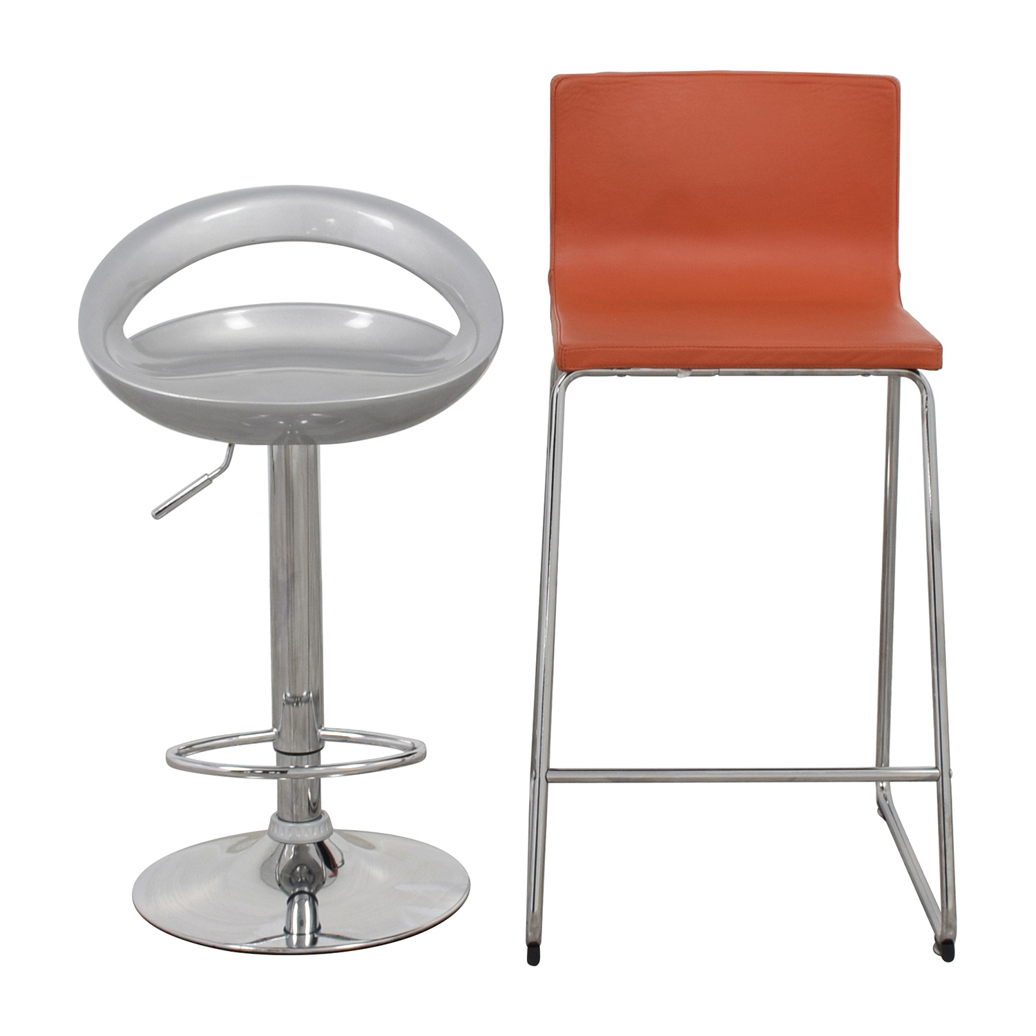 Pair of Modern Orange and Silver Bar Stools on sale