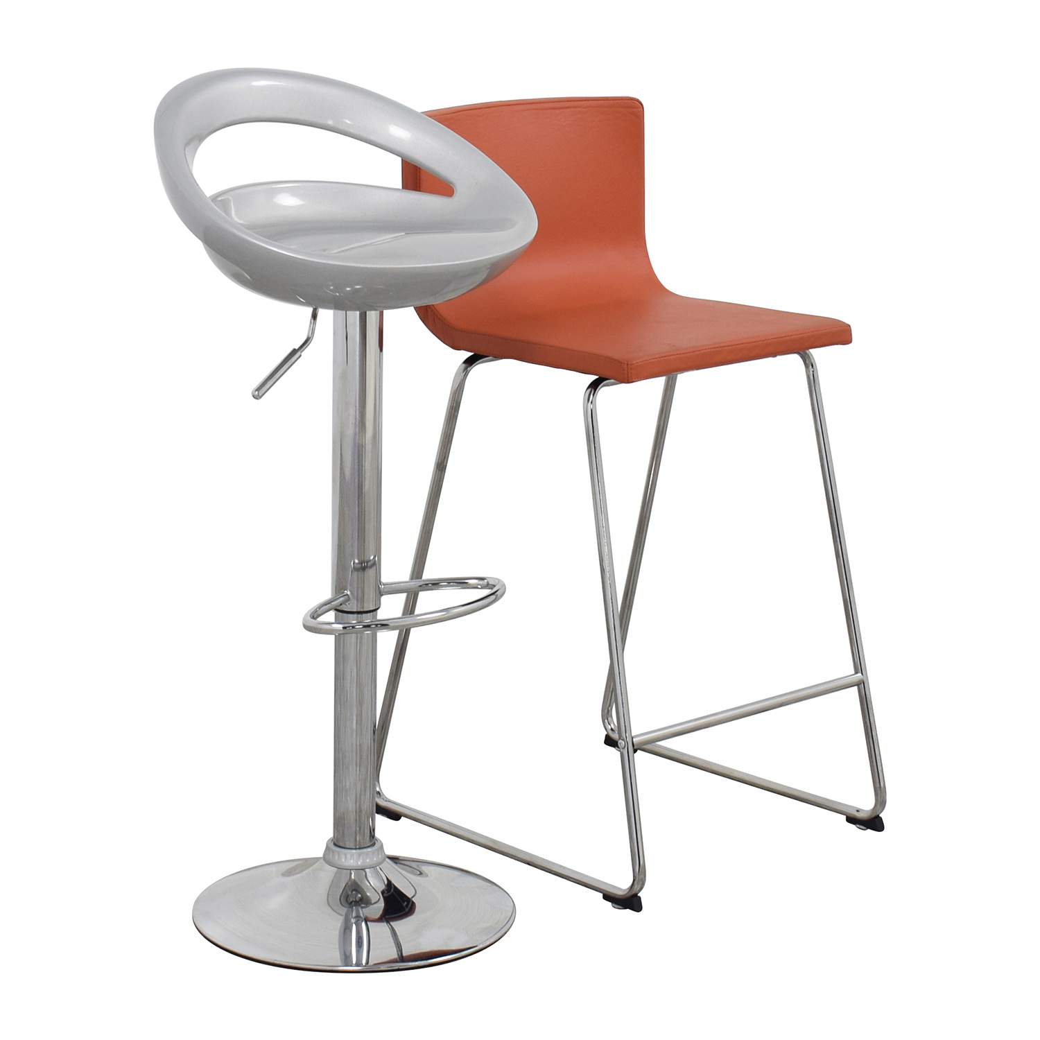 Pair of Modern Orange and Silver Bar Stools sale