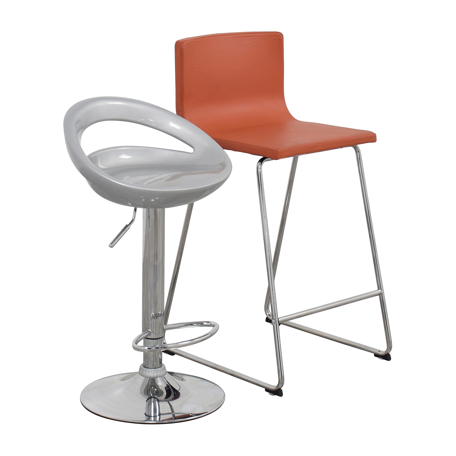 Pair of Modern Orange and Silver Bar Stools nyc