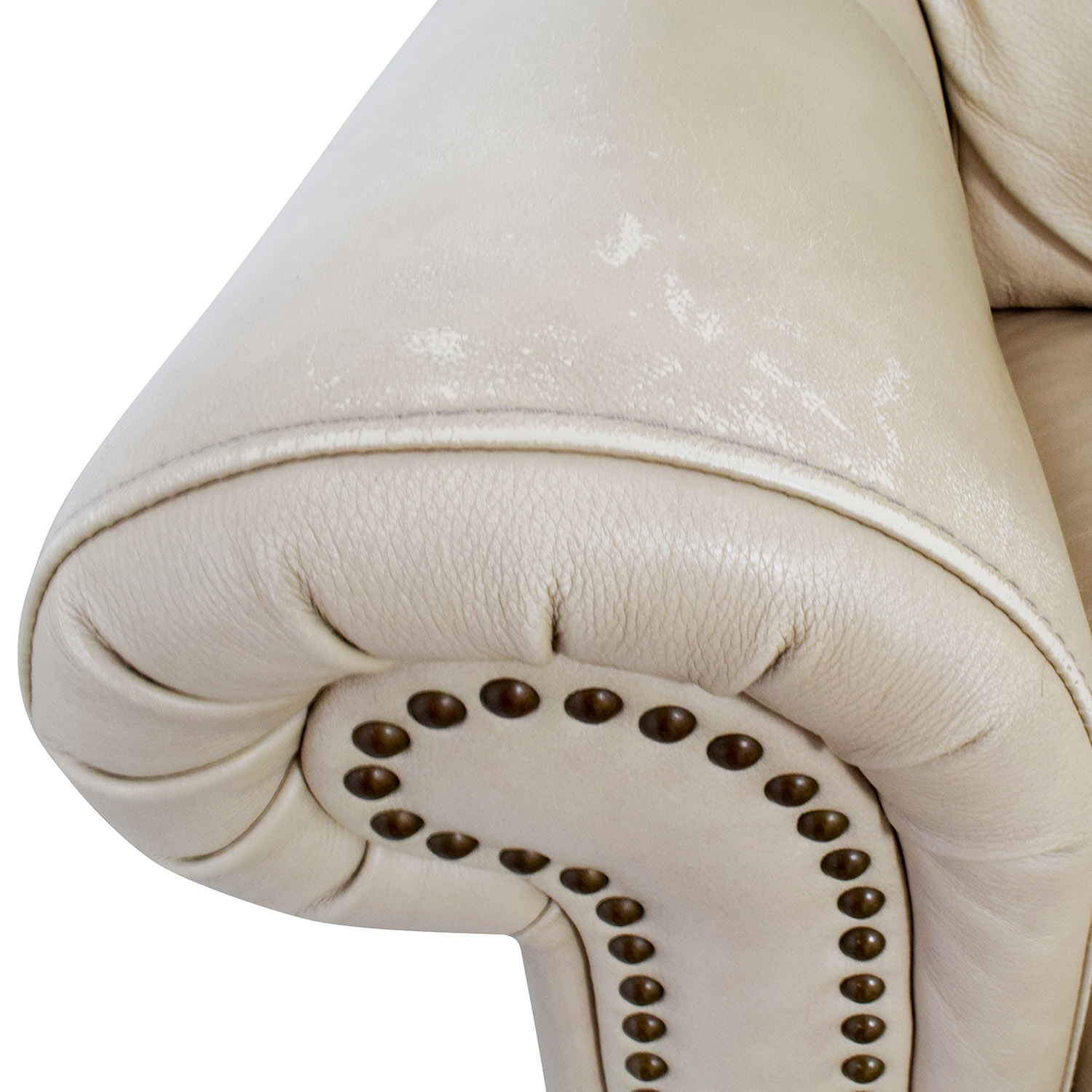buy Raymour & Flanigan Raymour & Flanigan Studded Tan Leather Loveseat and Ottoman online