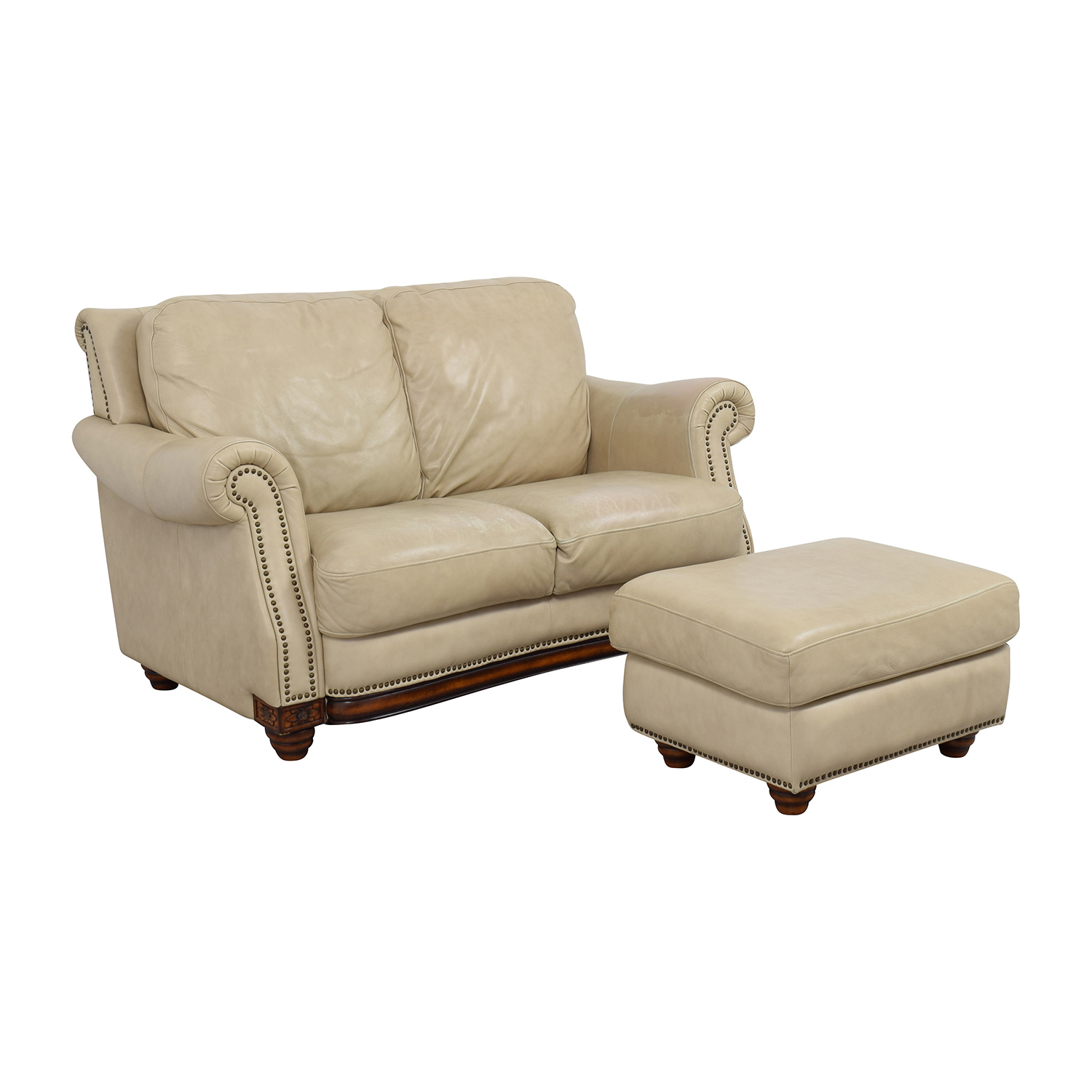 Raymour & Flanigan Raymour & Flanigan Studded Tan Leather Loveseat and Ottoman dimensions