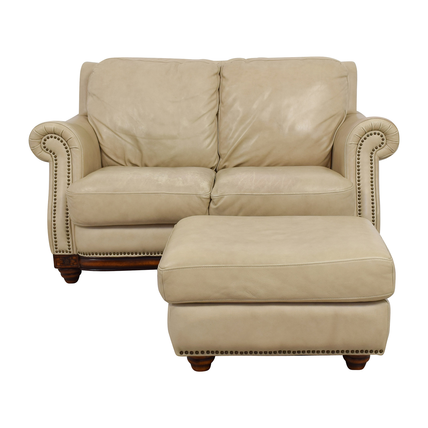 buy Raymour & Flanigan Studded Tan Leather Loveseat and Ottoman Raymour & Flanigan Sofas