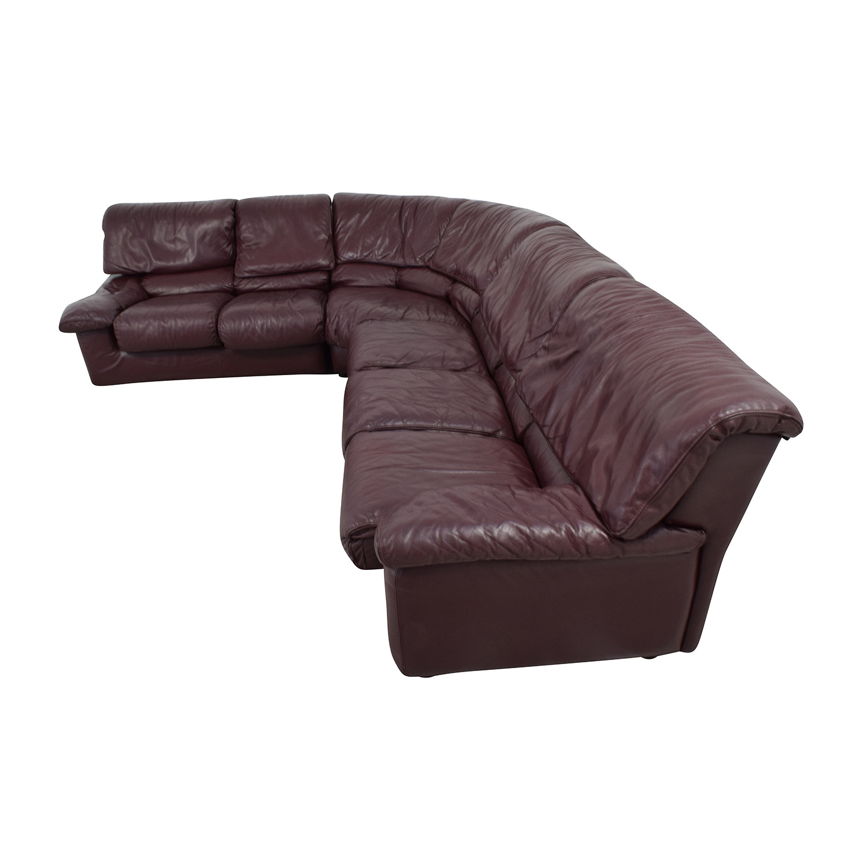 Roche Bobois Roche Bobois Brown Leather Sectional maroon