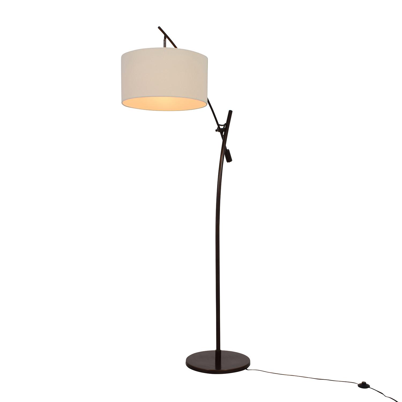 buy Levar Bronze Boom Arc Floor Lamp with Linen Shade Levar