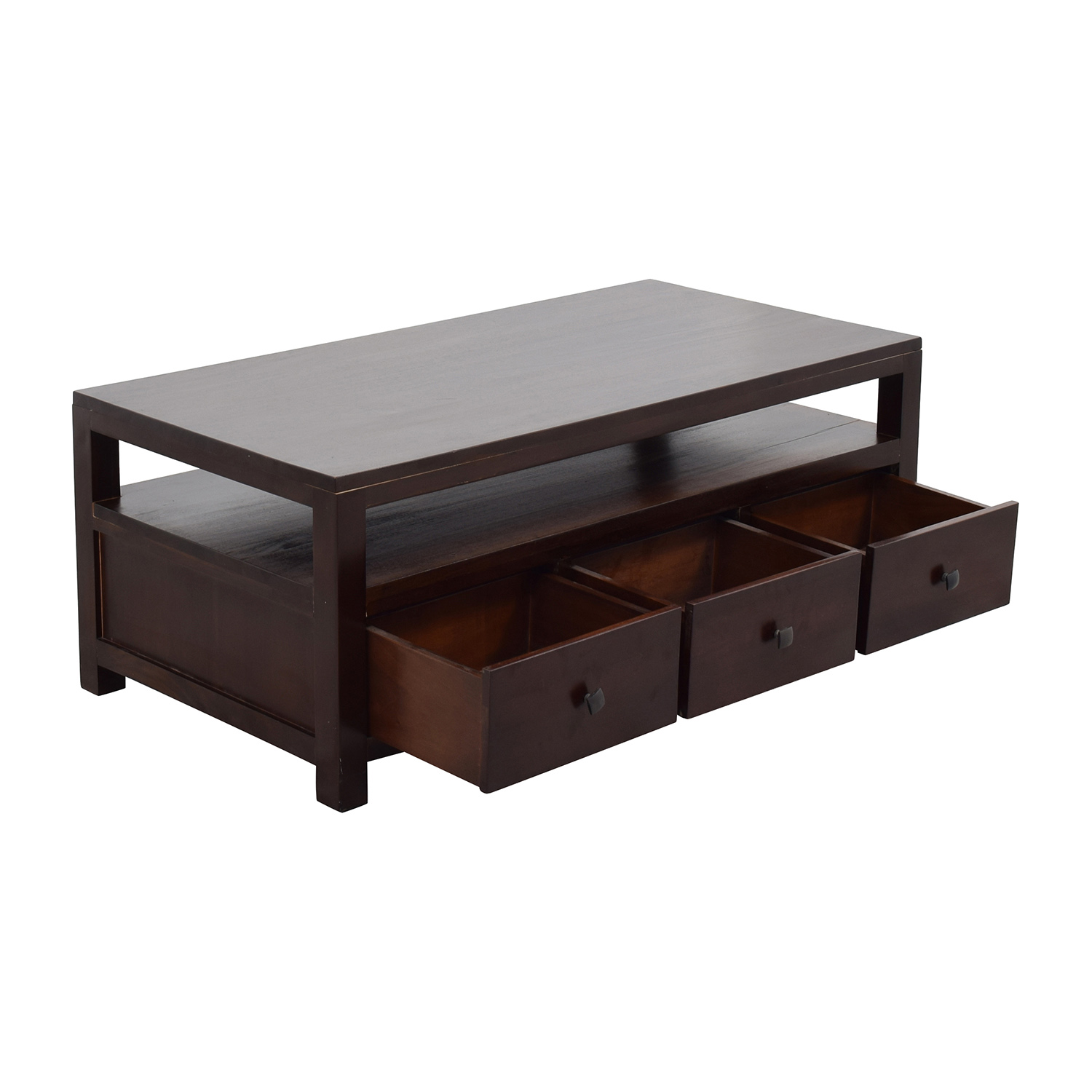 shop Daria Brown Wood Coffee Table with Three Drawers Daria Coffee Tables