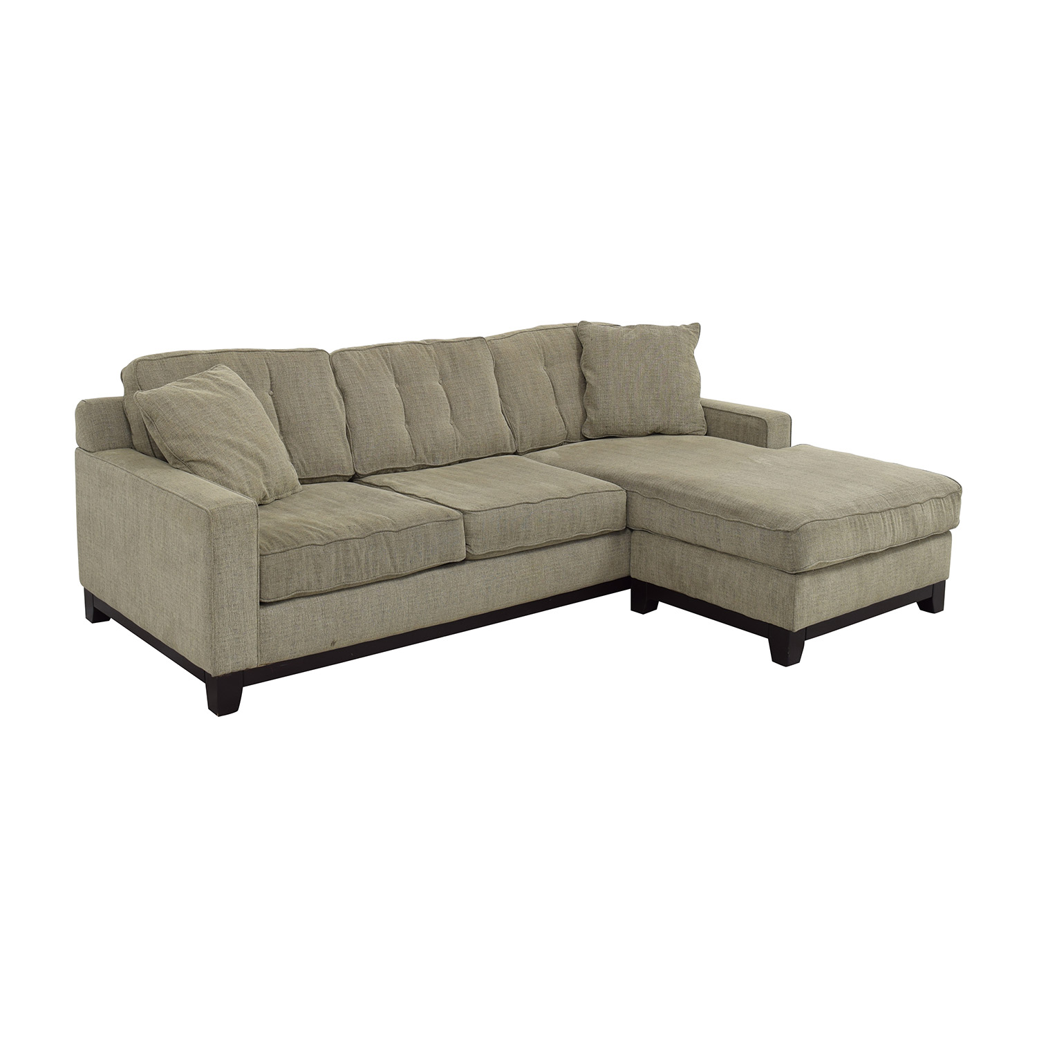 61 off grey l shaped tufted sectional with right chaise sofas. Black Bedroom Furniture Sets. Home Design Ideas