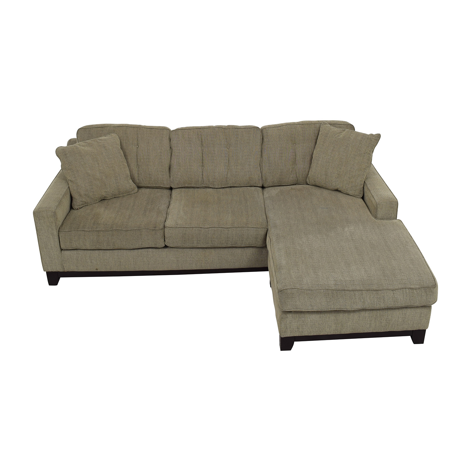 Grey L-Shaped Tufted Sectional with Right Chaise discount