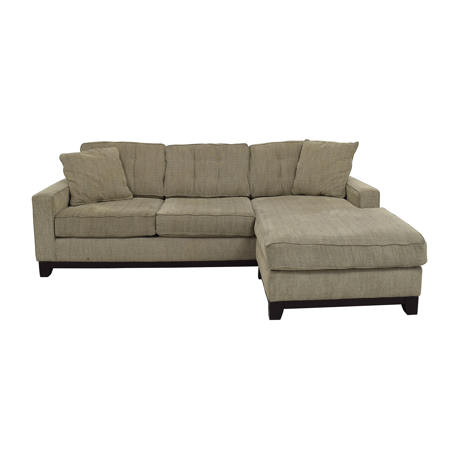 Grey L-Shaped Tufted Sectional with Right Chaise for sale