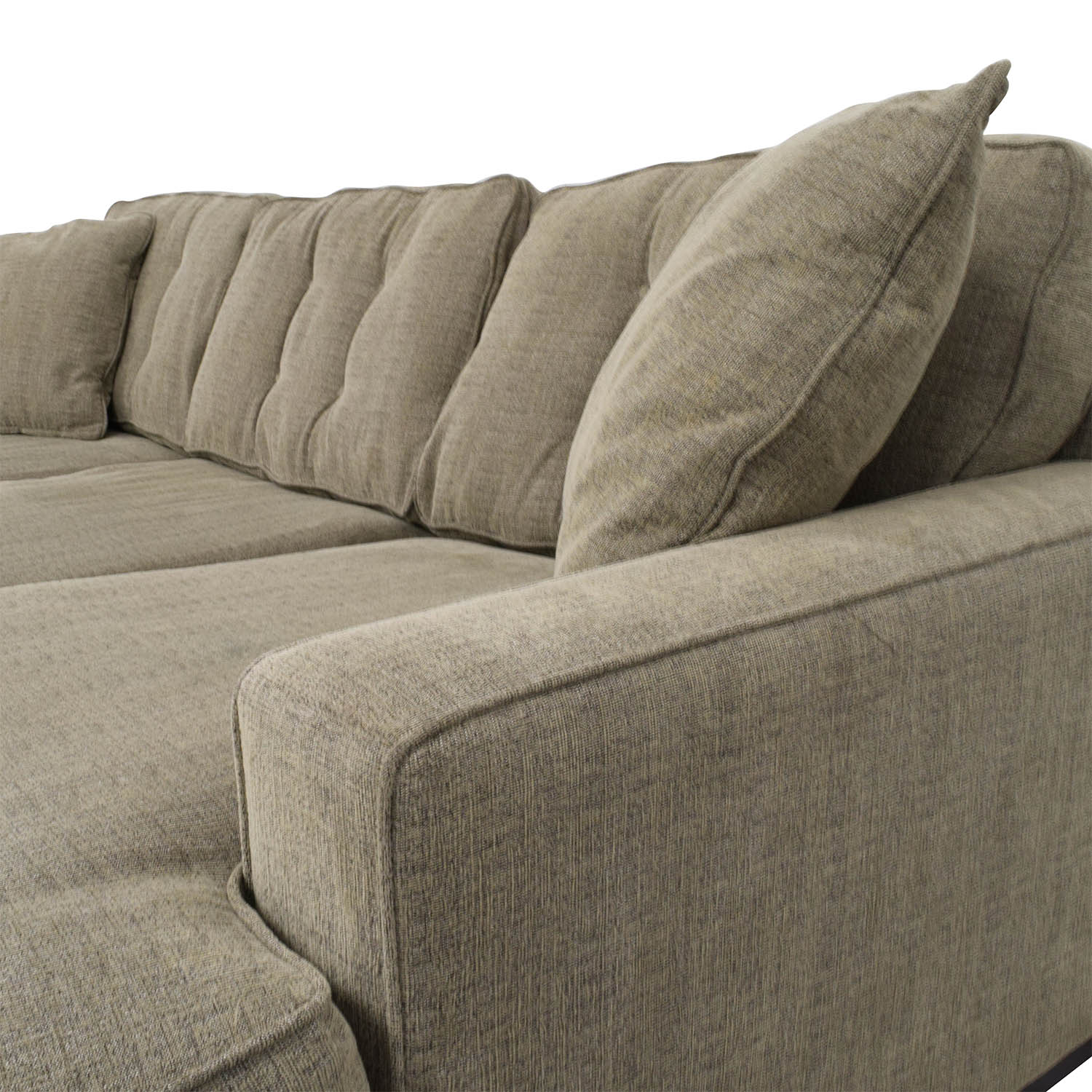Grey L-Shaped Tufted Sectional with Right Chaise Sectionals