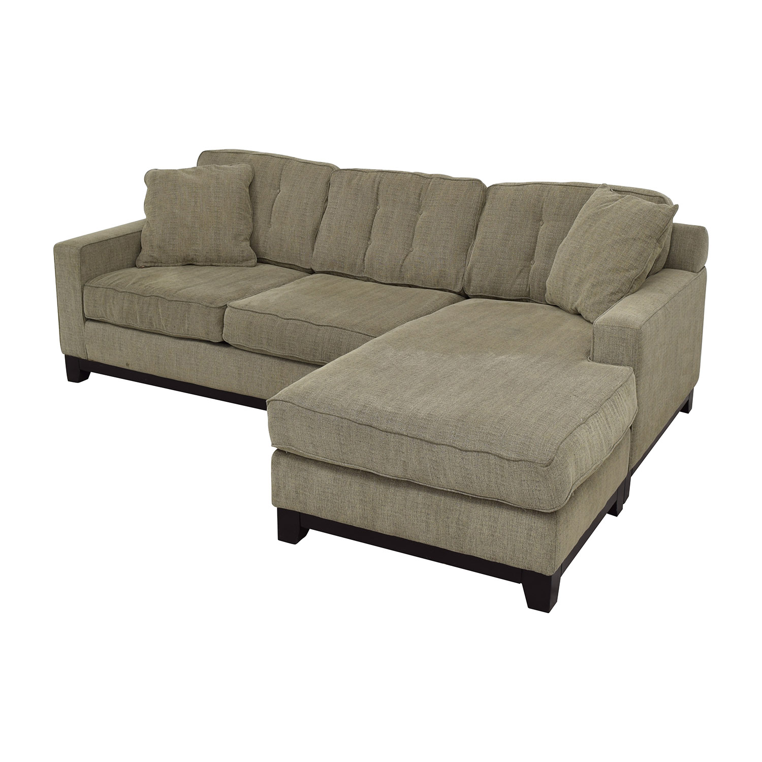 second hand grey l shaped tufted sectional with right chaise