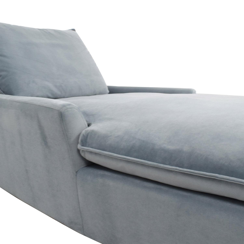 West Elm West Elm Bliss Steel Blue Velvet Lounge Chaise