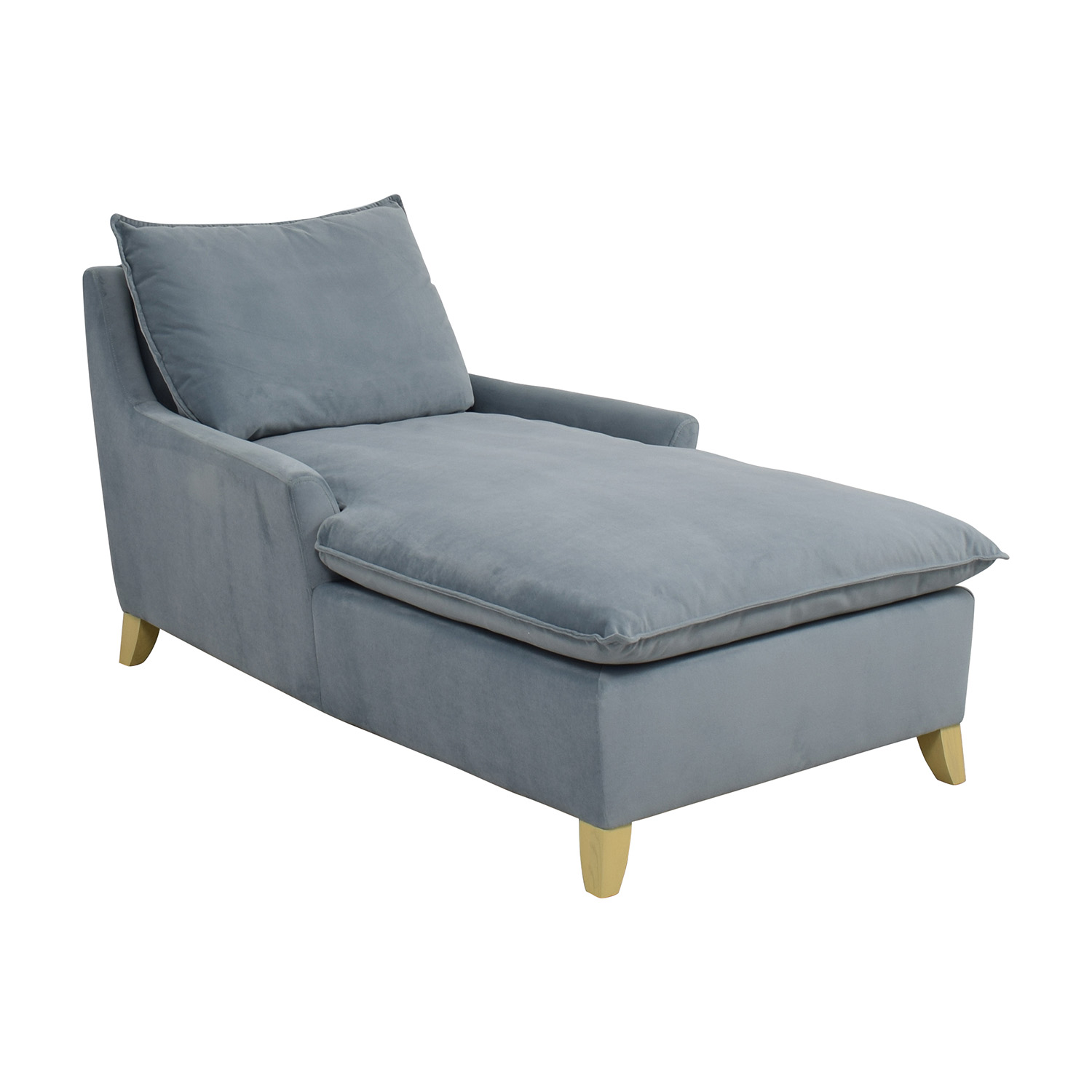 72 off west elm west elm bliss steel blue velvet lounge for Blue velvet chaise