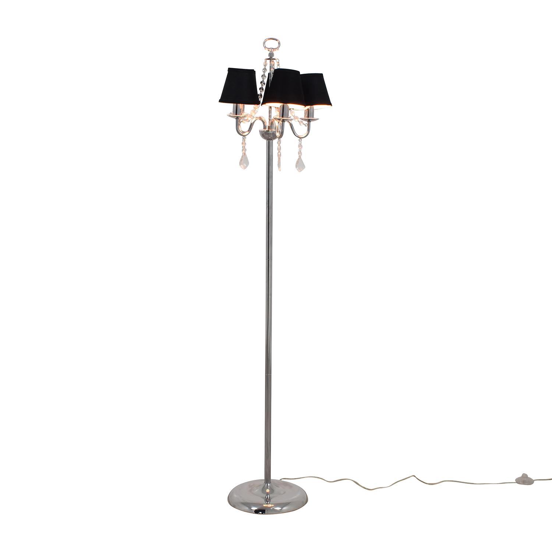 Black Chandelier Floor Lamp with Crystals