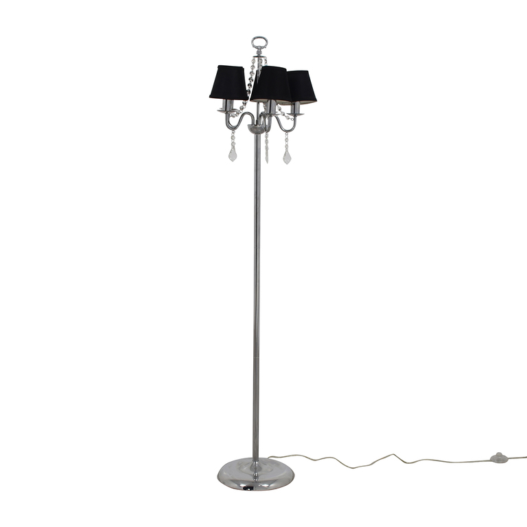 Black Chandelier Floor Lamp with Crystals on sale