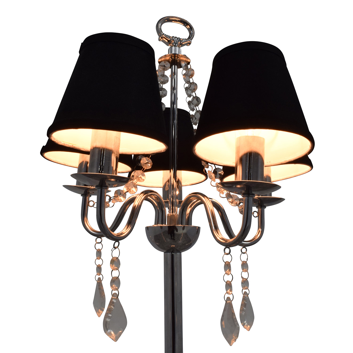 Black Chandelier Floor Lamp With Crystals / Decor