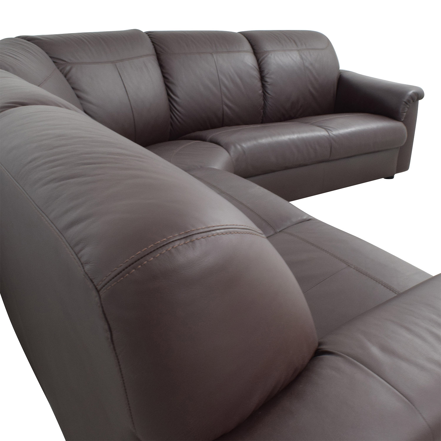 buy IKEA Plush Brown Leather Sectional IKEA Sectionals