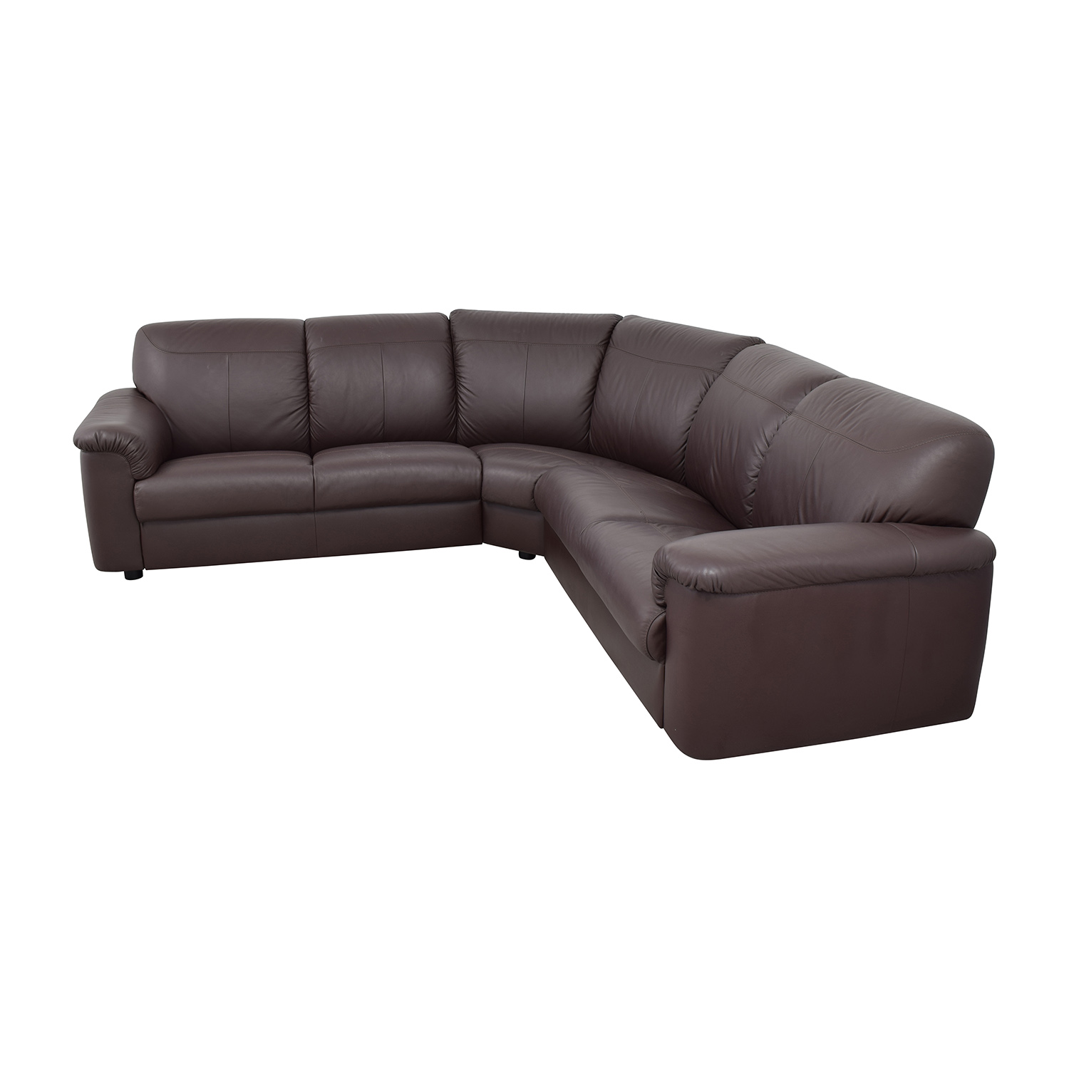 71 Off Ikea Ikea Plush Brown Leather Sectional Sofas
