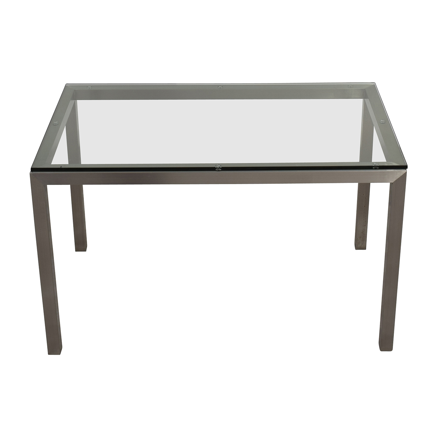 Crate And Barrel Crate U0026 Barrel Glass And Stainless Steel Dining Table Nj