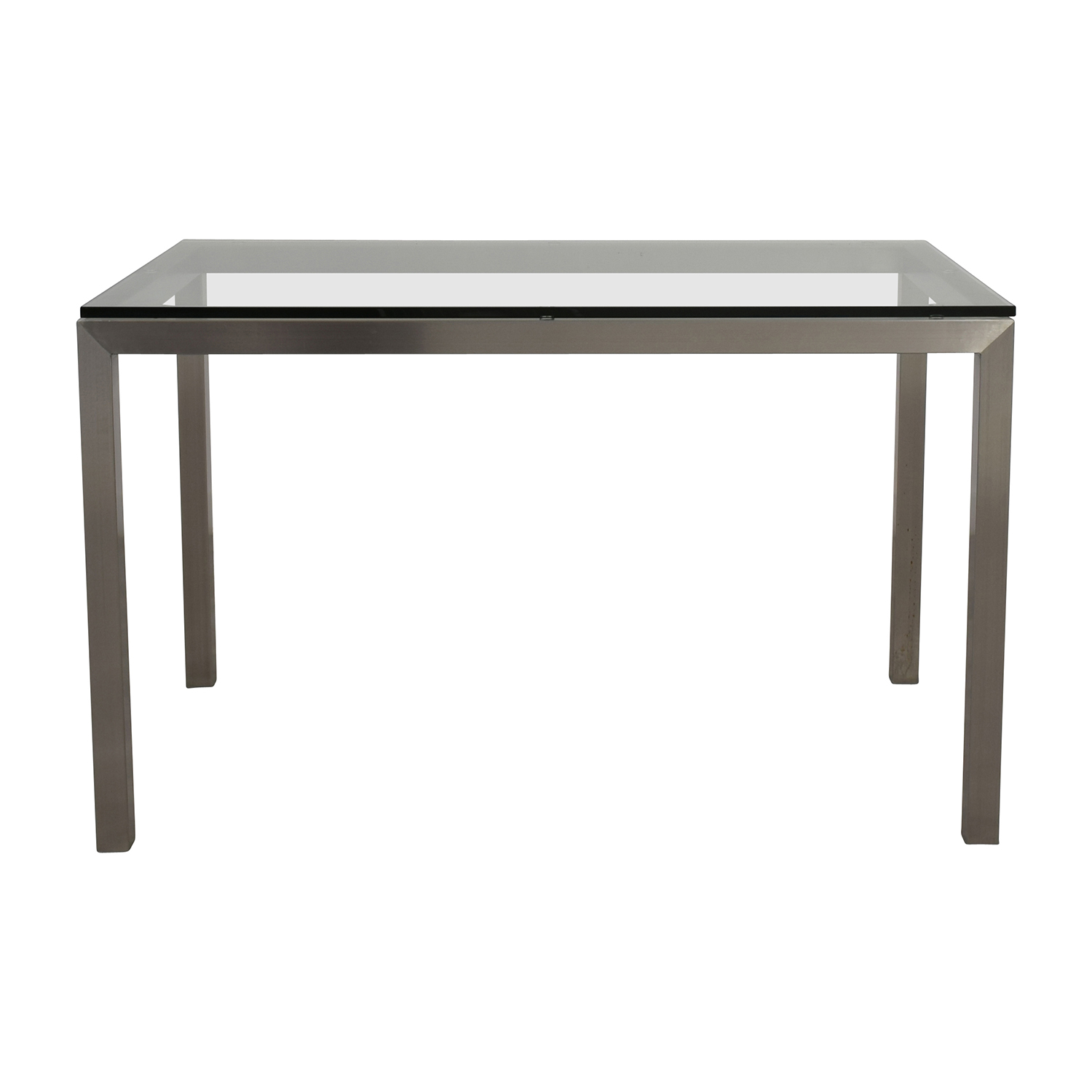 Attirant Crate And Barrel Crate U0026 Barrel Glass And Stainless Steel Dining Table Used