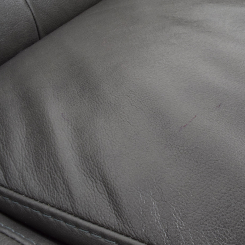 Macys Macys Tufted Gray Leather Sofa second hand