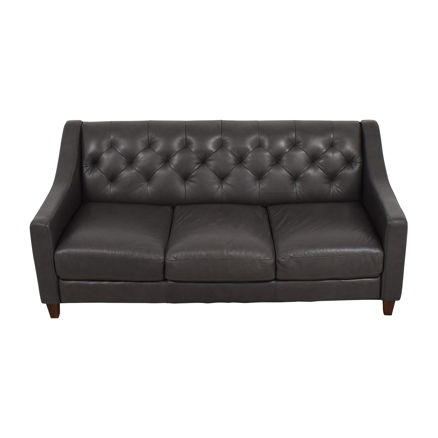 Macys Macys Tufted Gray Leather Sofa discount