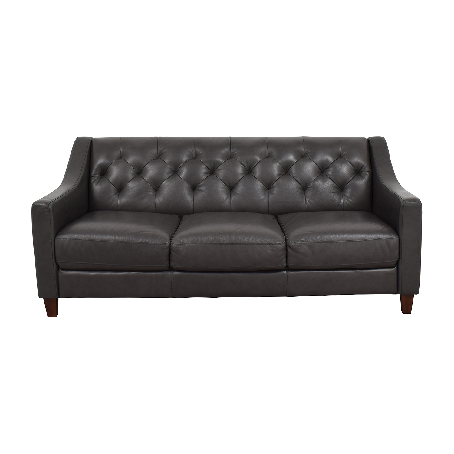 Macys Macys Tufted Gray Leather Sofa