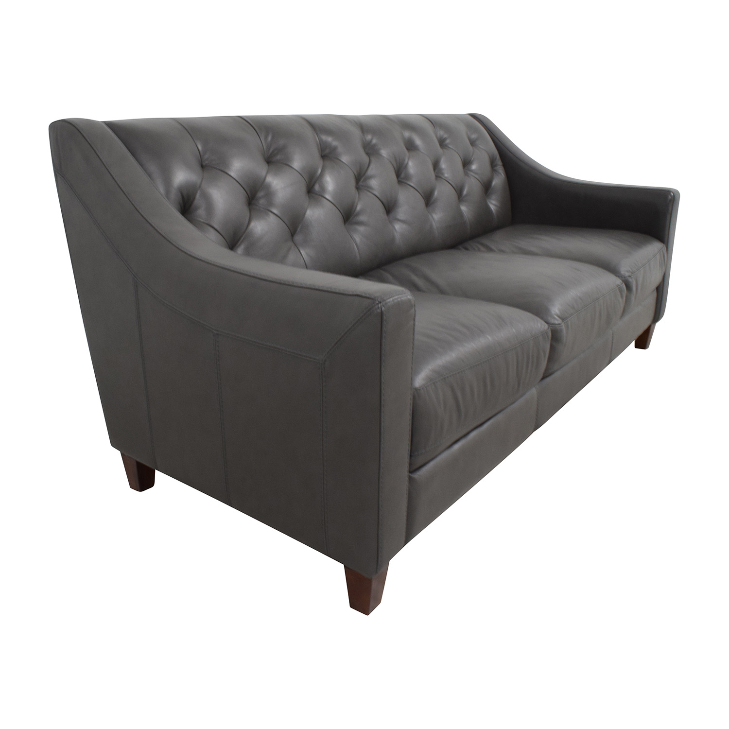 69 off macy 39 s macy 39 s tufted gray leather sofa sofas. Black Bedroom Furniture Sets. Home Design Ideas