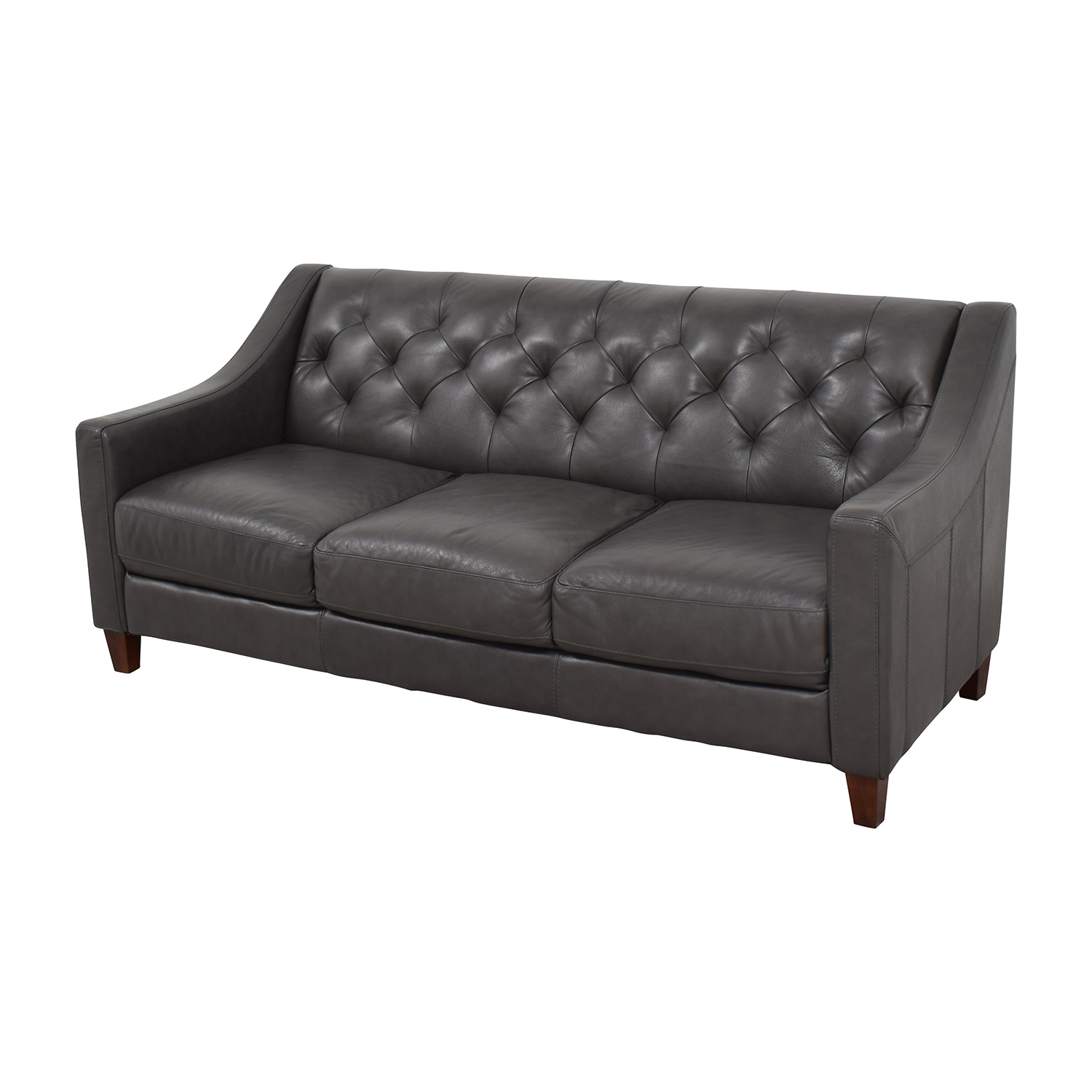 Macy's Macy's Tufted Gray Leather Sofa / Sofas