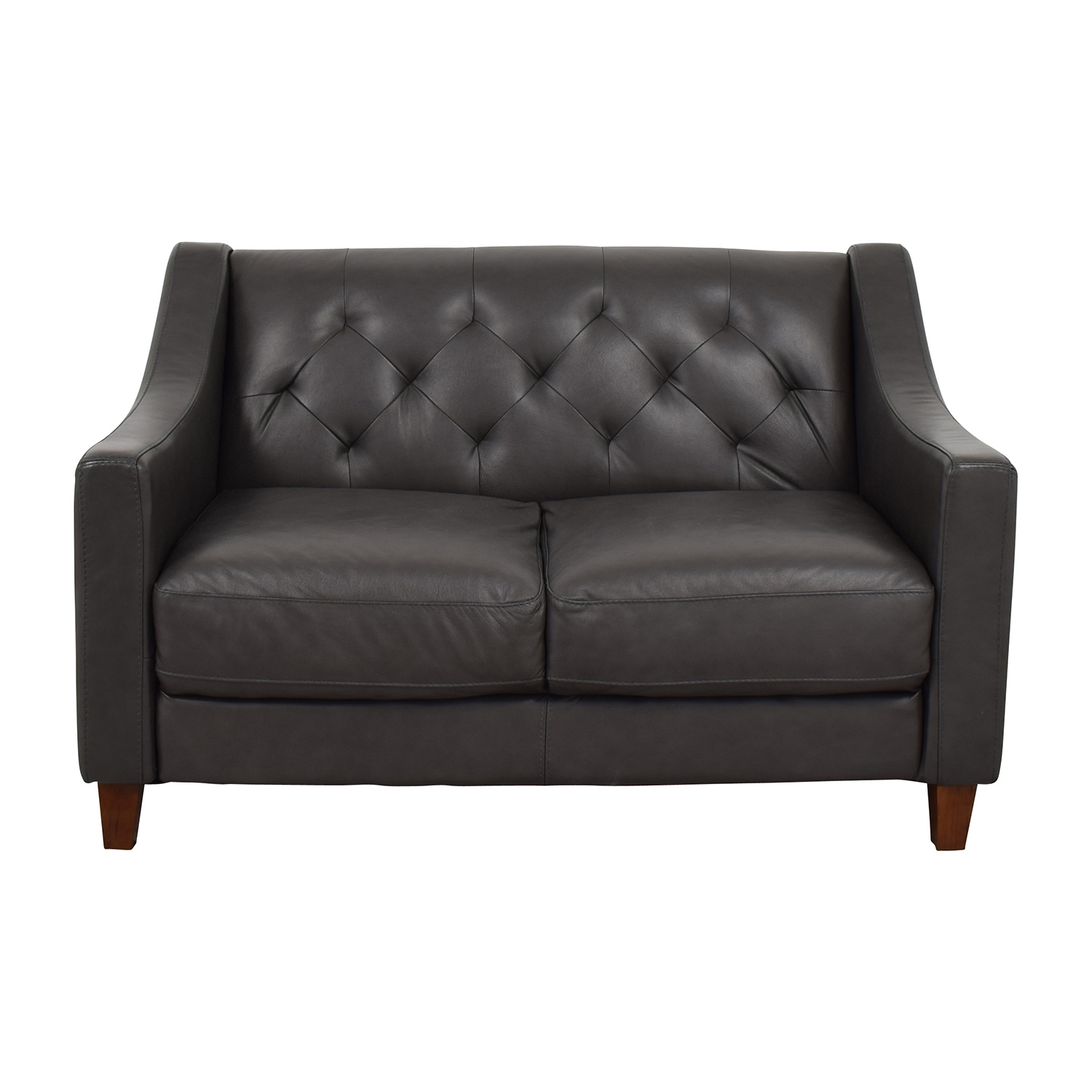 shop Macys Tufted Leather Loveseat Macys Sofas