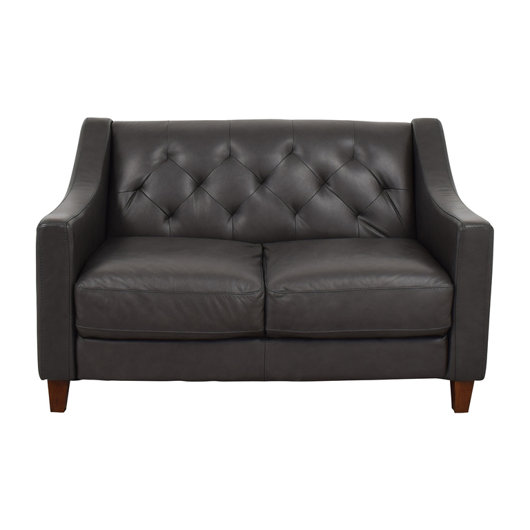 Macy's Macy's Tufted Leather Loveseat on sale