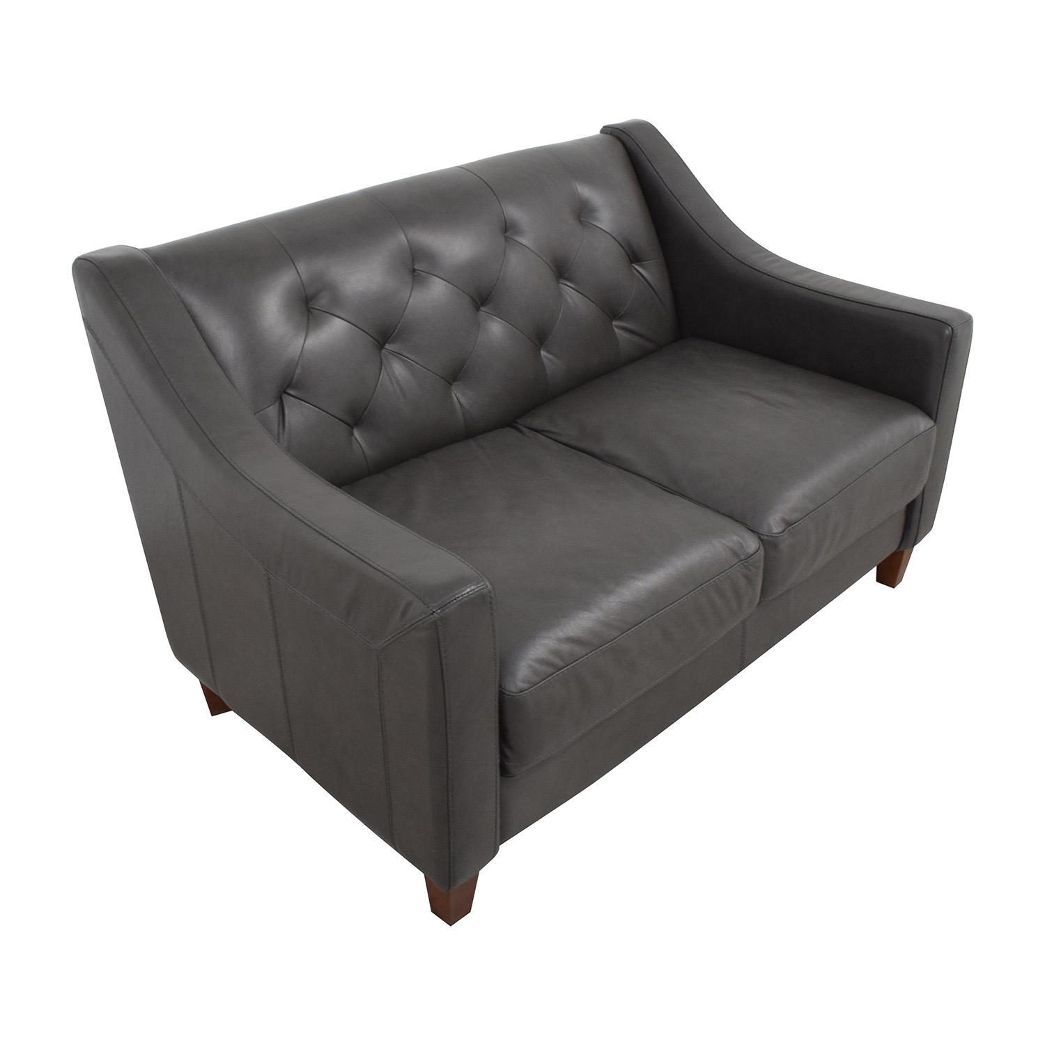 Macys Macys Tufted Leather Loveseat for sale