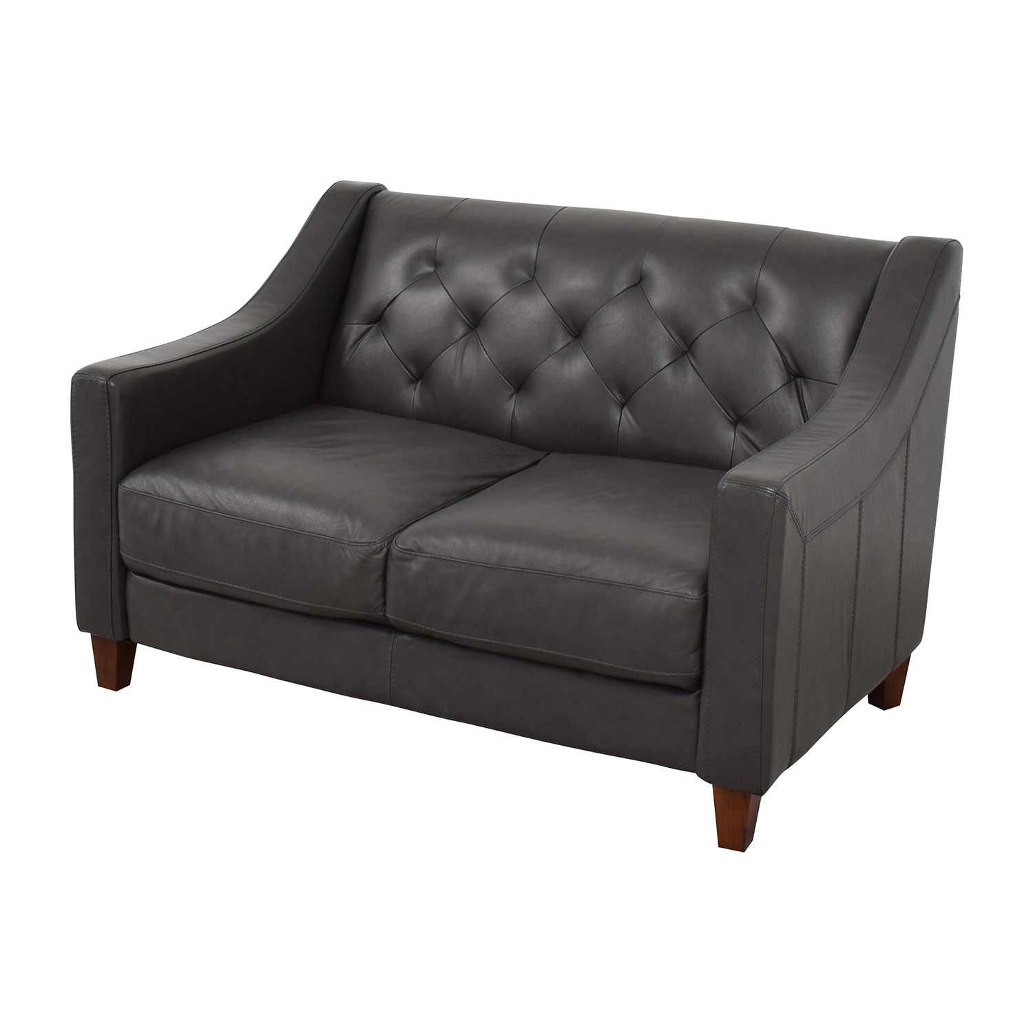 Macys Macys Tufted Leather Loveseat Sofas