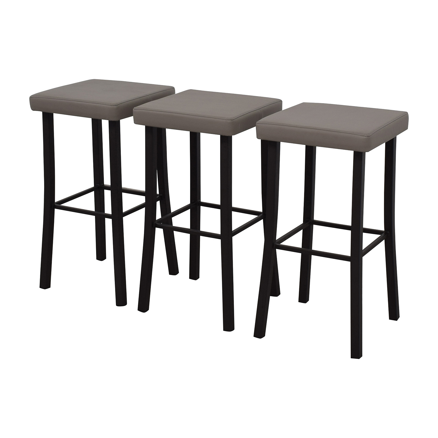 90% OFF - Amisco Amisco Ryan Grey Faux Leather Stool / Chairs