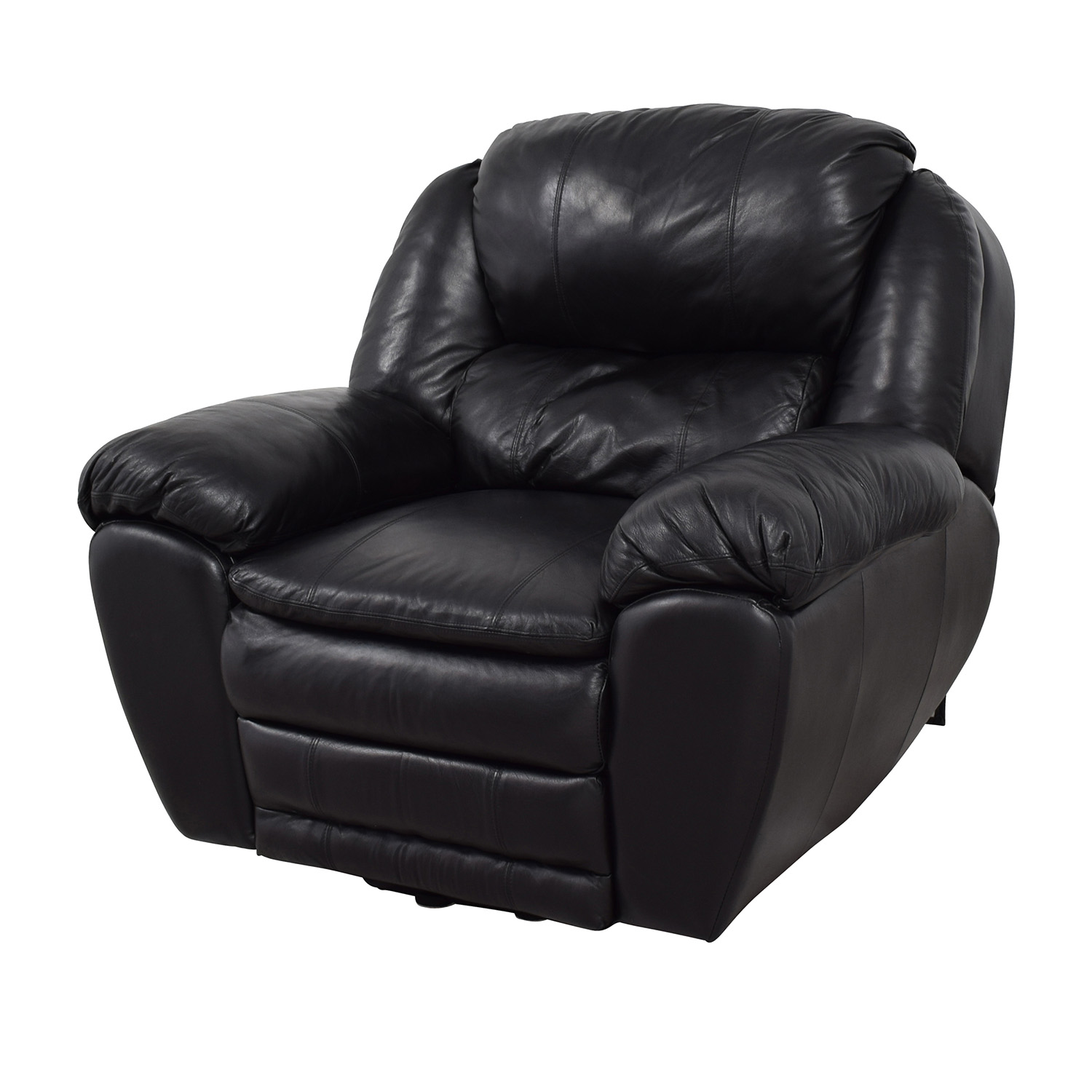 87% OFF - Berkline Berkline Black Leather Rocking Recliner ...