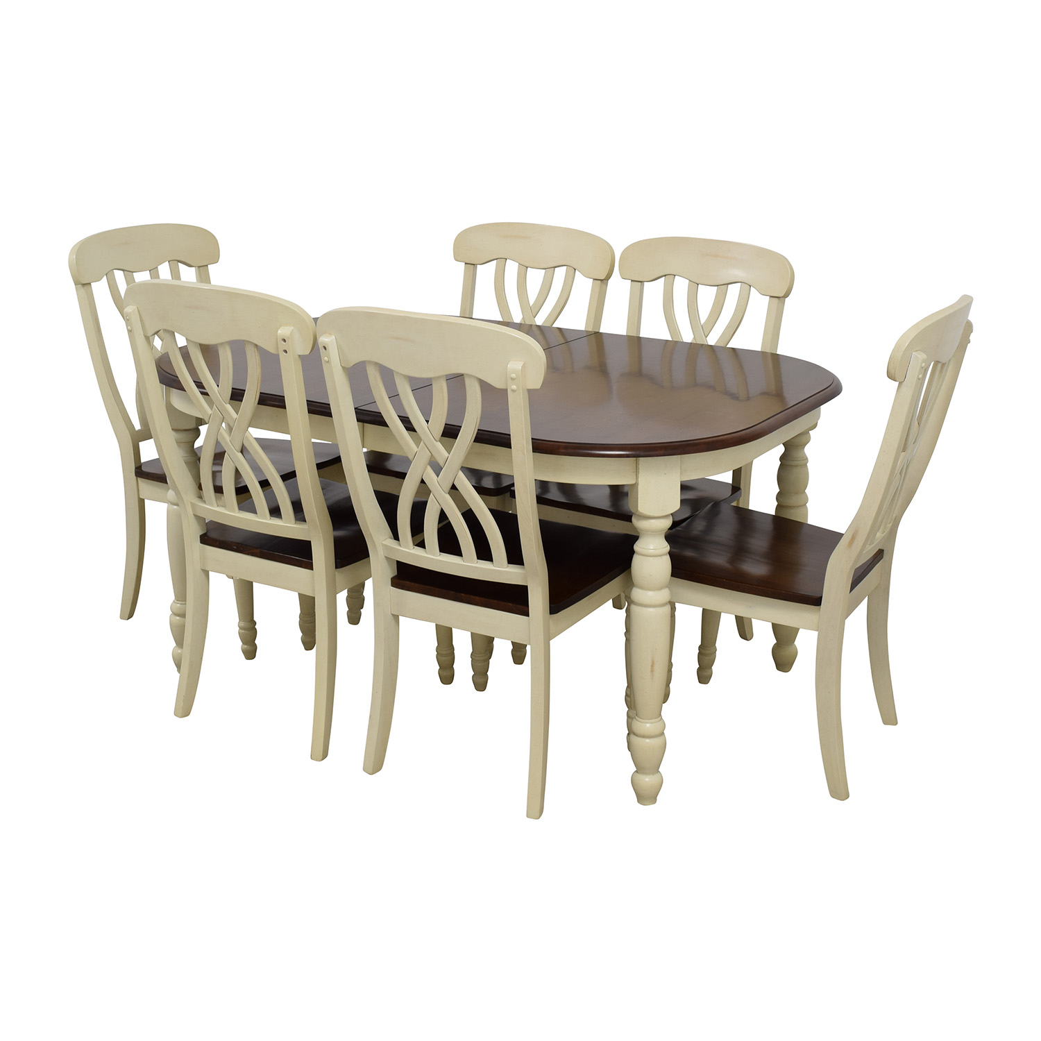 Extendable Wood Dining Table with Chairs on sale