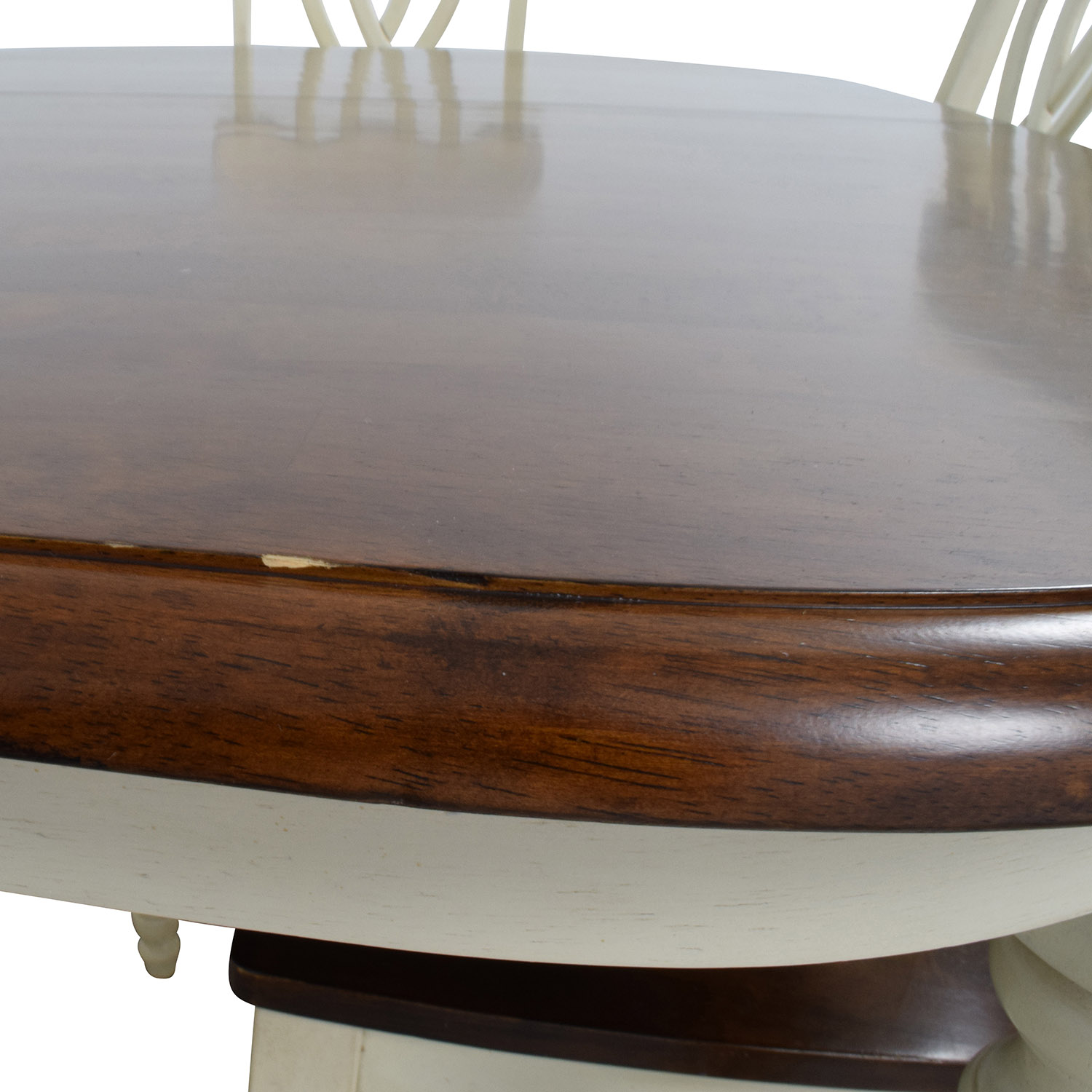 Extendable Wood Dining Table with Chairs used