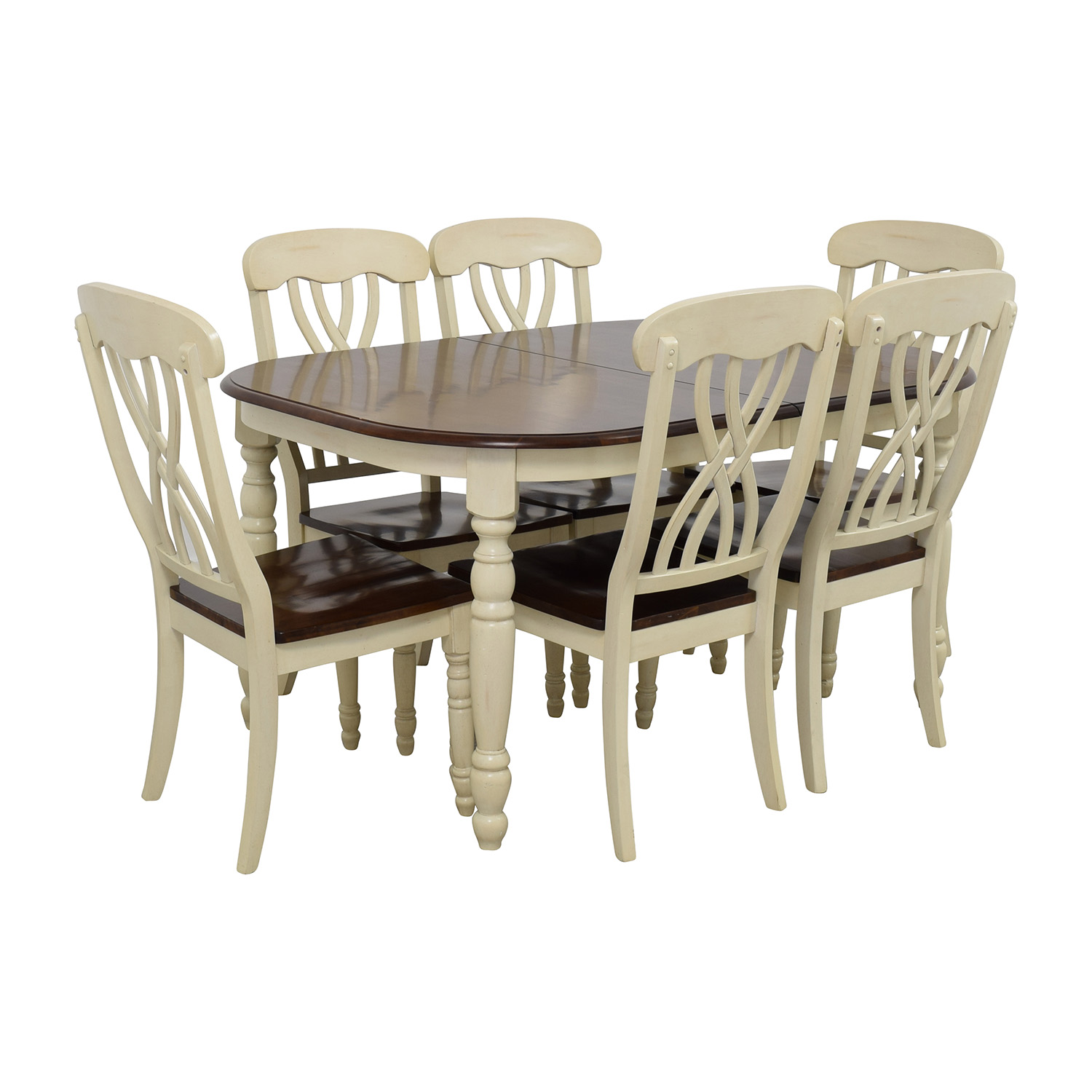 50 off extendable wood dining table with chairs tables. Black Bedroom Furniture Sets. Home Design Ideas