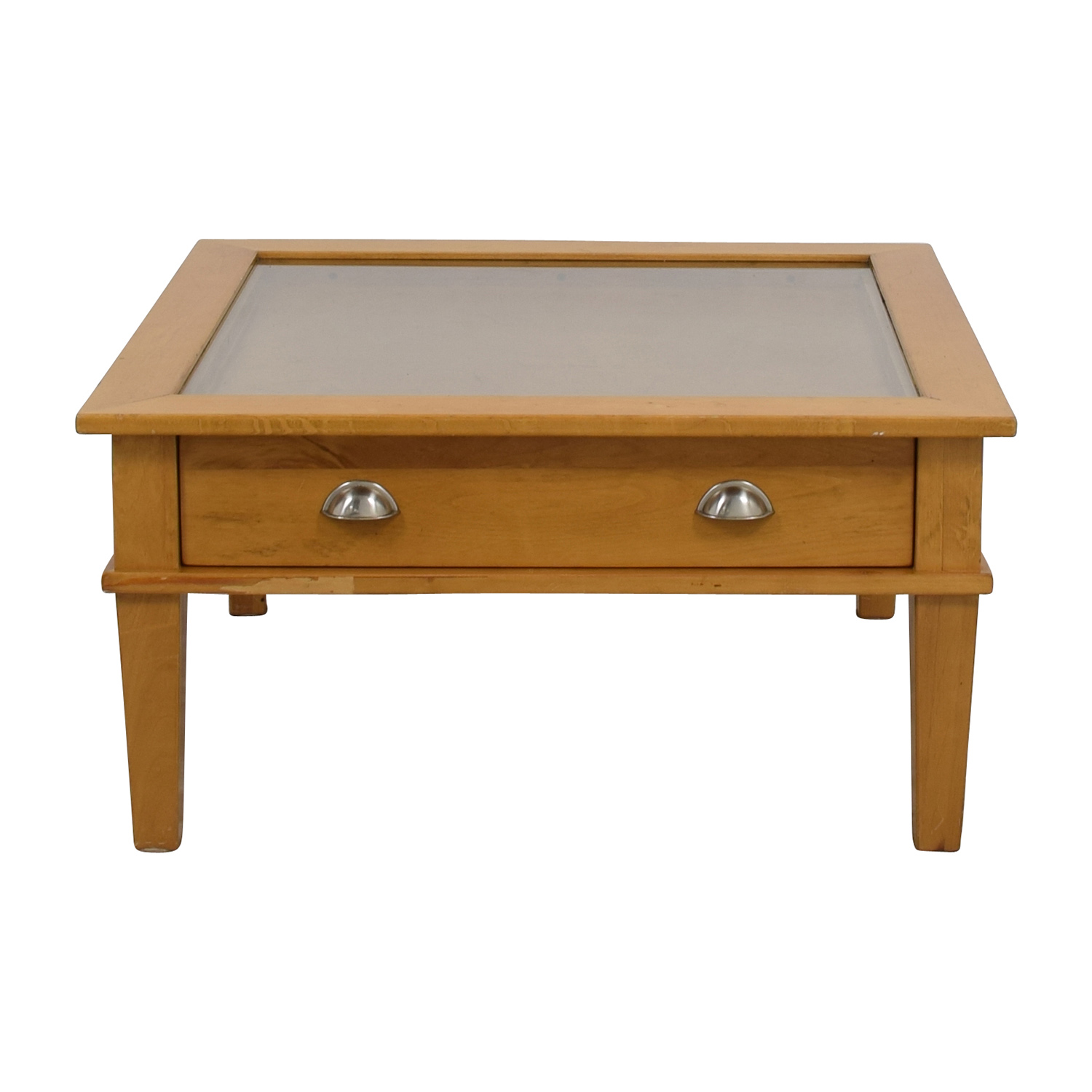 buy Wooden Shadow Box Square Coffee Table  Tables