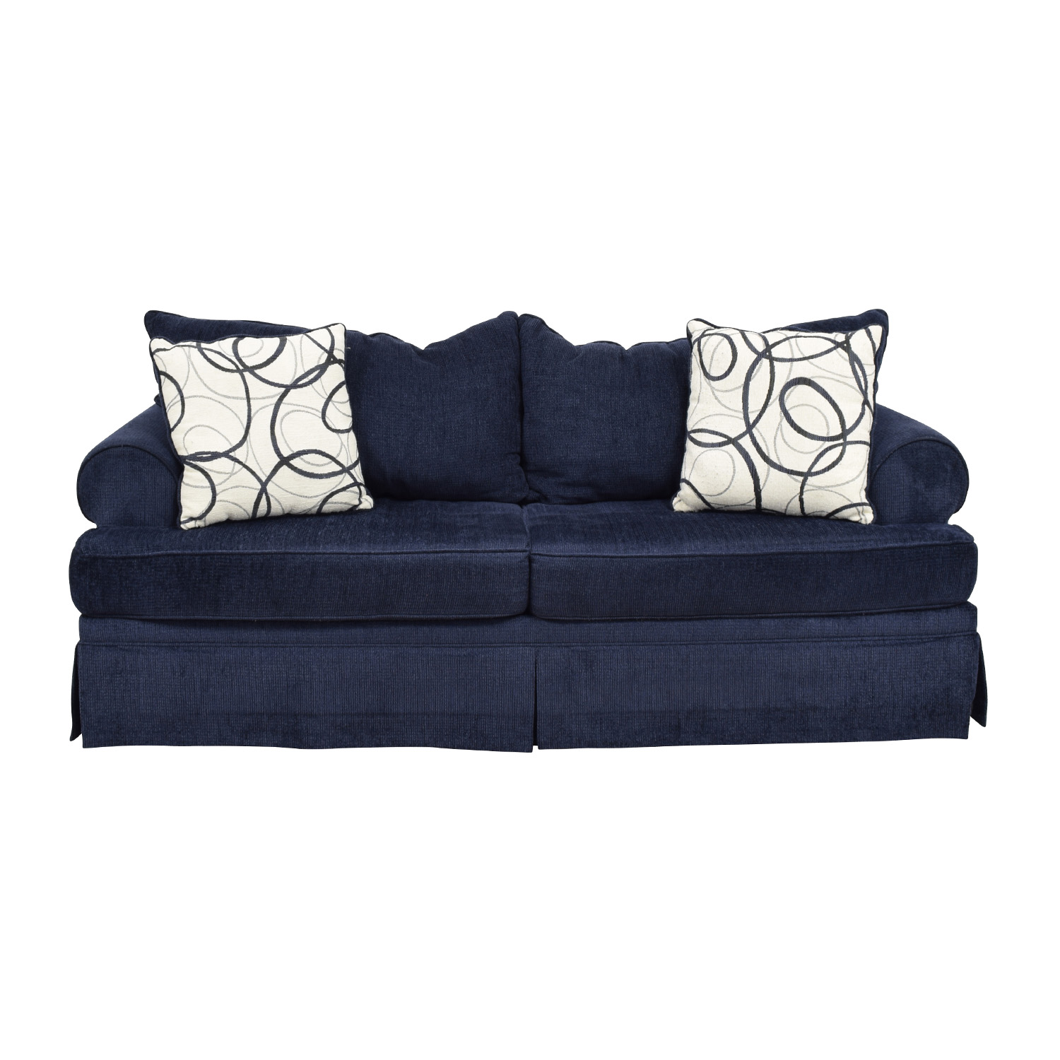 Bobs Furniture Deep Blue Sofa On