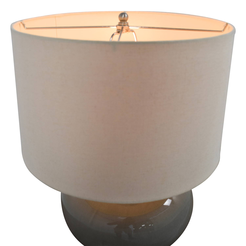 Pottery Barn Round Grey Ceramic Table Lamp / Decor
