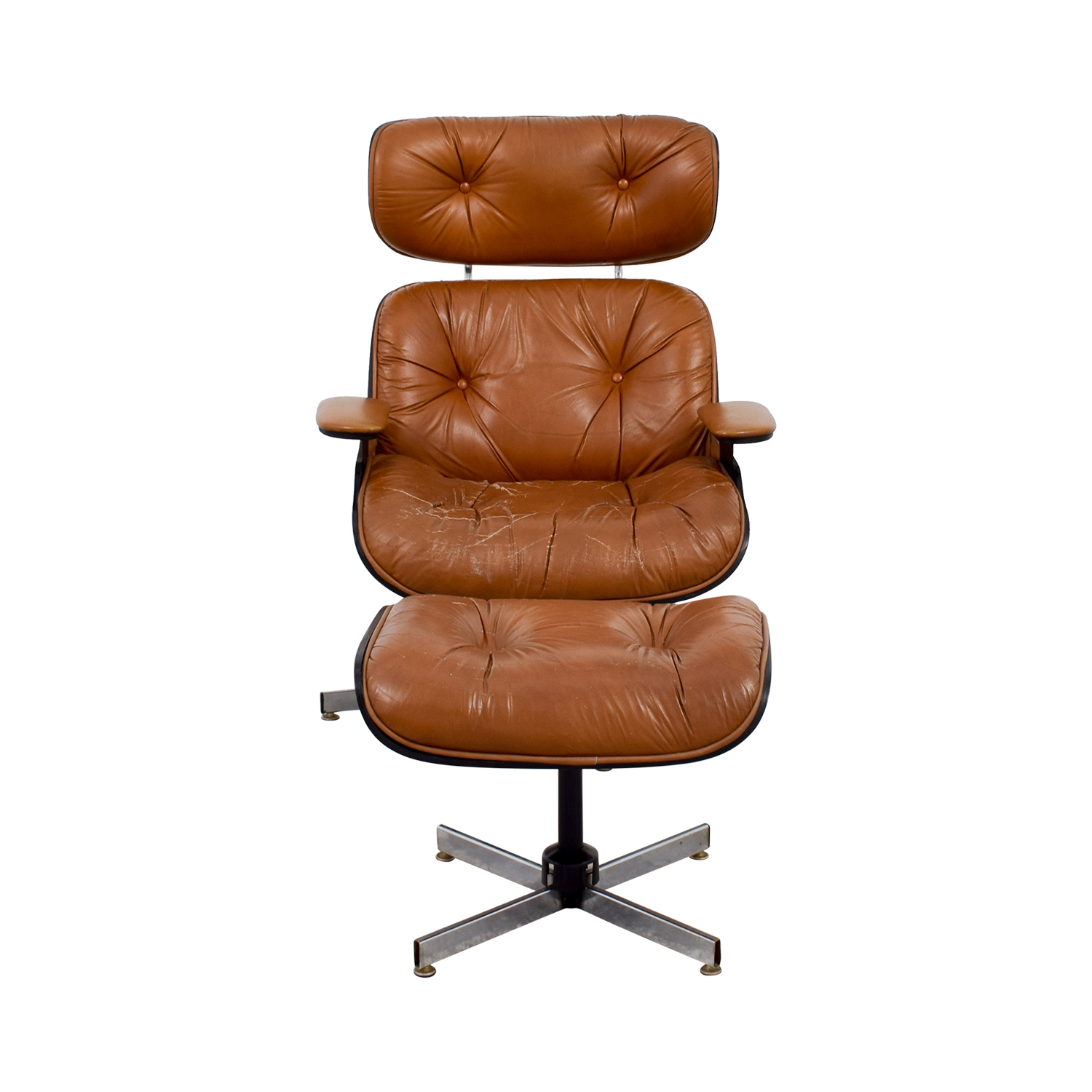 Eames Replica Leather Chair with Ottoman used