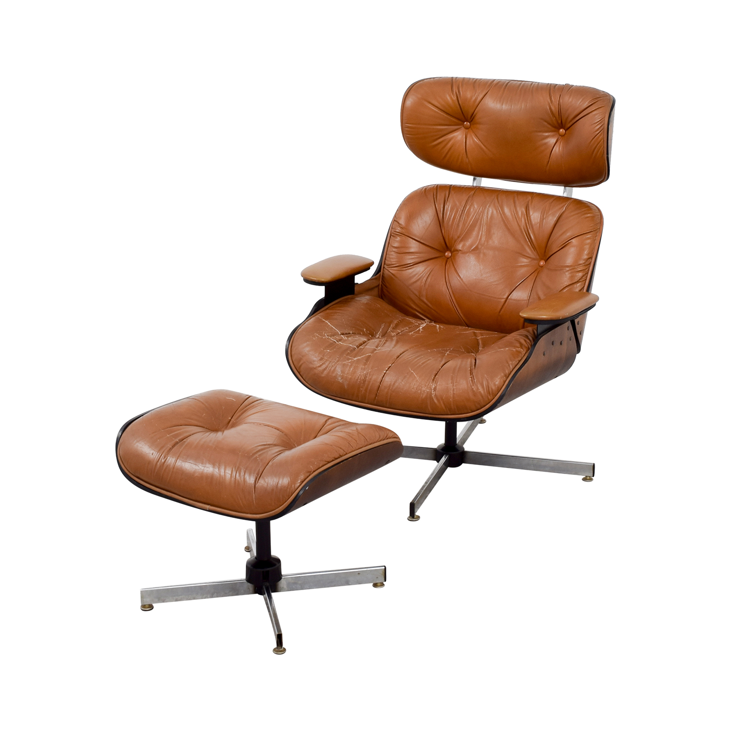 69 off eames replica leather chair with ottoman chairs for Leather eames dining chair