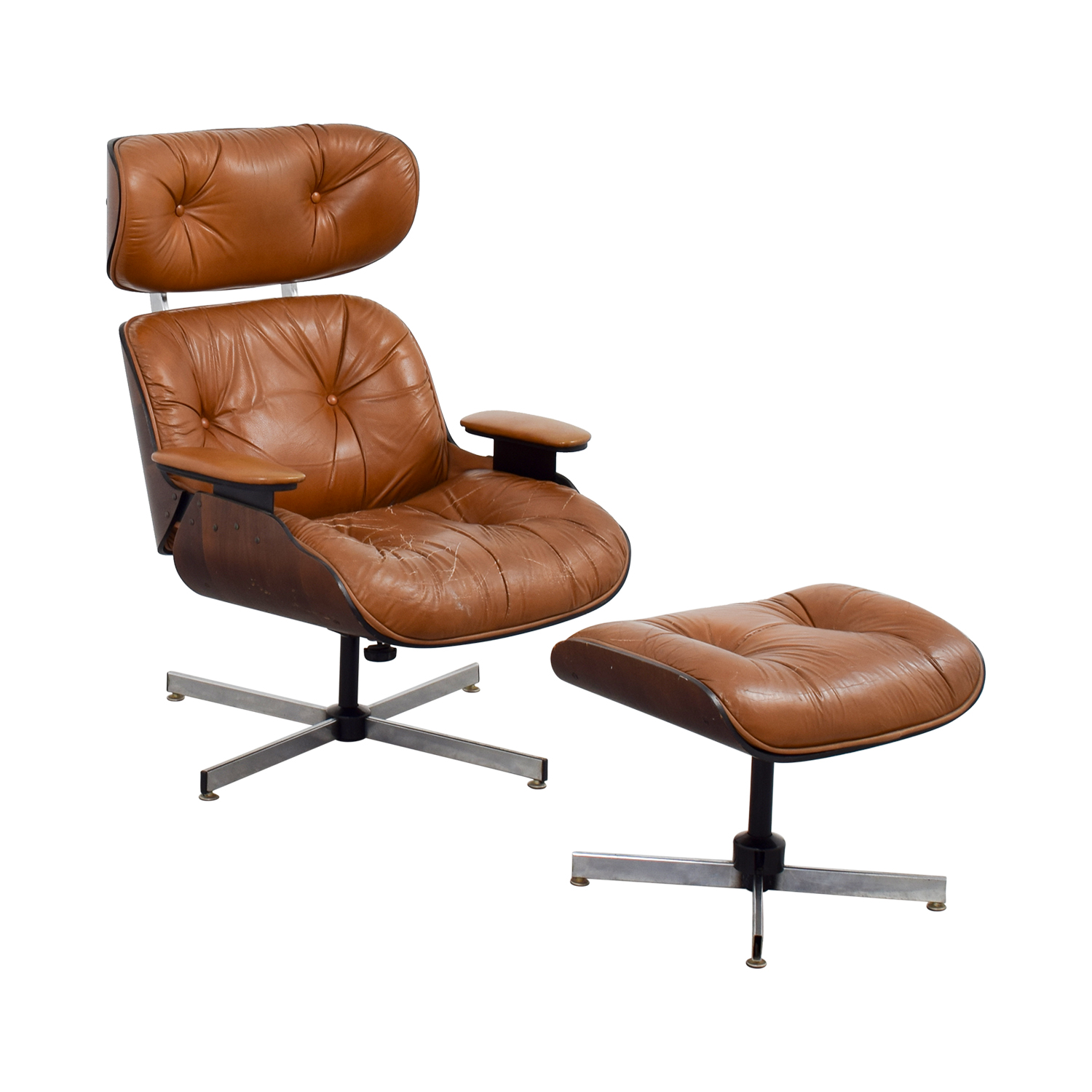 ... Eames Replica Leather Chair With Ottoman Sale ...