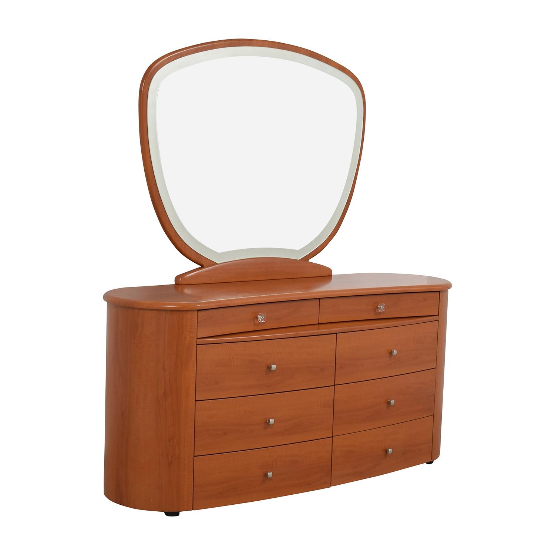 Mid-Century Dresser with Mirror tan