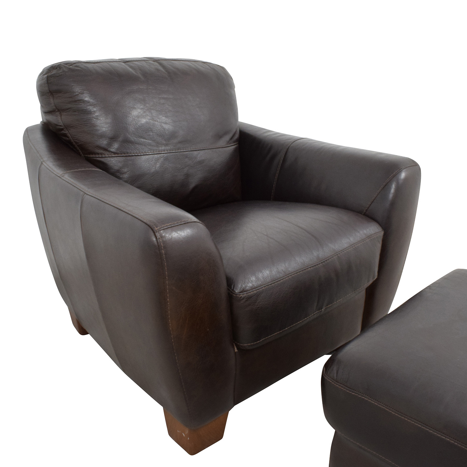 Captivating ... Sofitalia Sofitalia Dark Brown Leather Armchair And Ottoman Discount ...