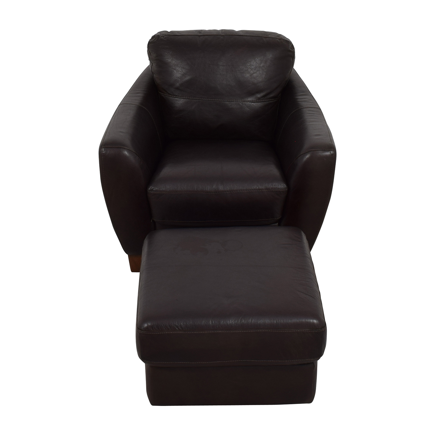 Sofitalia Dark Brown Leather Armchair and Ottoman sale
