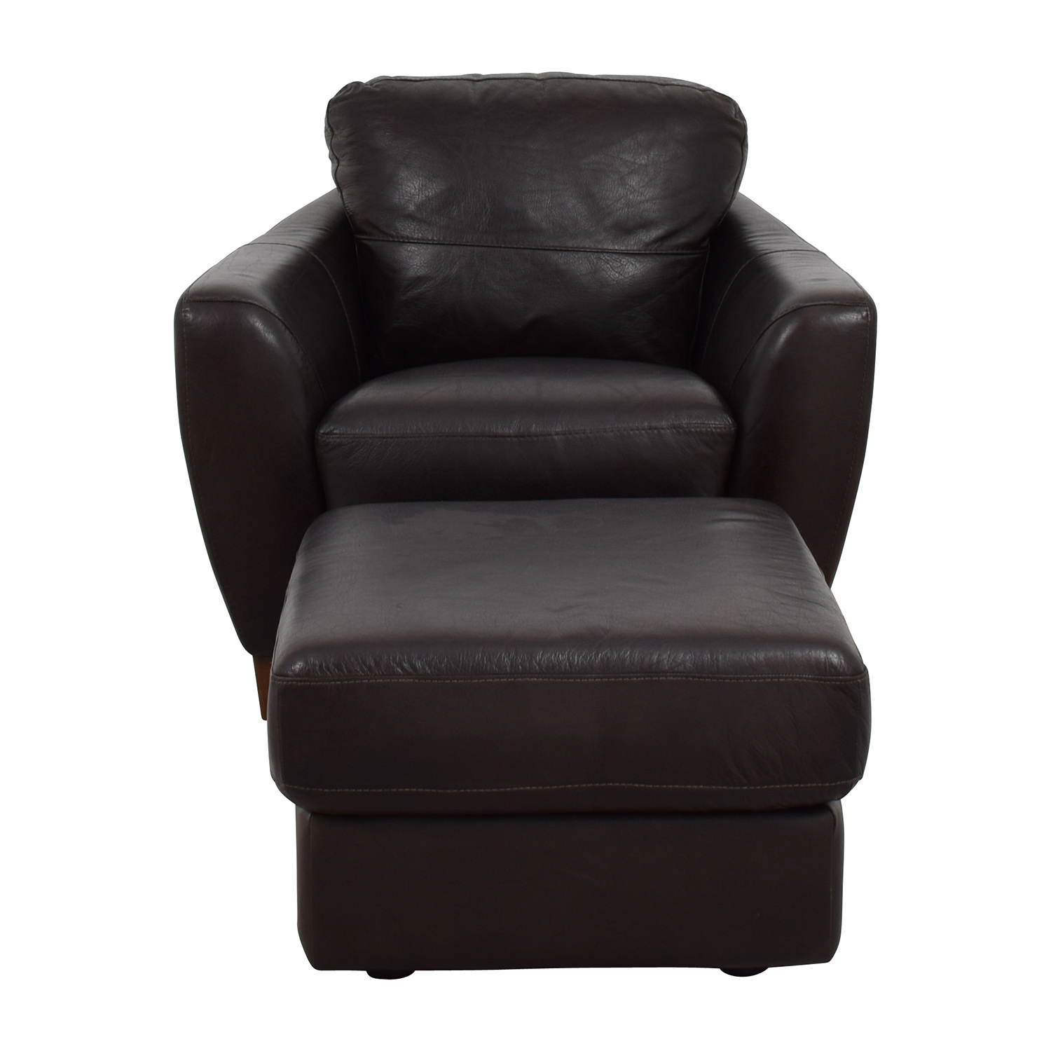 buy Sofitalia Sofitalia Dark Brown Leather Armchair and Ottoman online