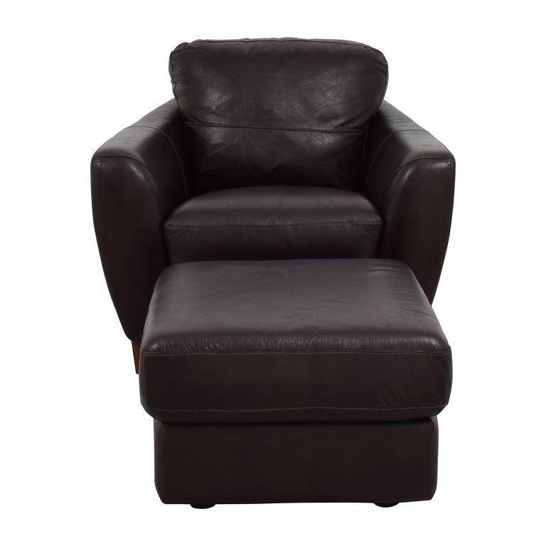 Sofaitalia Sofitalia Dark Brown Leather Armchair and Ottoman for sale